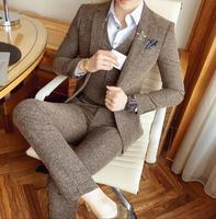 Серый 3 предмета Формальные твидовый костюм с брюки Винтаж Для мужчин s костюм Terno Masculino костюм Homme брак Жених Для мужчин костюмы для свадебны