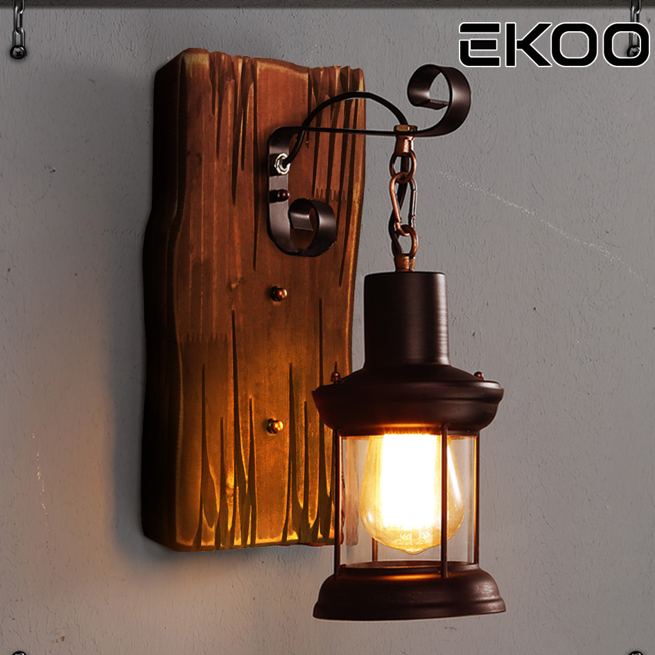 EKOO Vintage przemysłowe Retro drewno kinkiet Cafe Bar żyrandol ścienny Loft światła