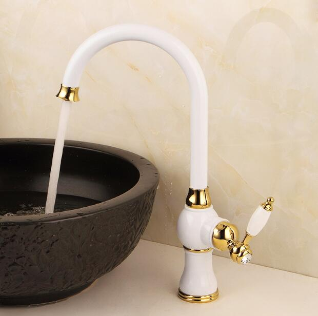 Kitchen faucet gold & white Copper water tap cold &hot Sink faucet Vegetable washing basin sink mixer 360 degree rotating faucet mttuzk kitchen faucet golden rose gold copper for cold and hot water tap sink faucet vegetable washing basin 360 rotating faucet
