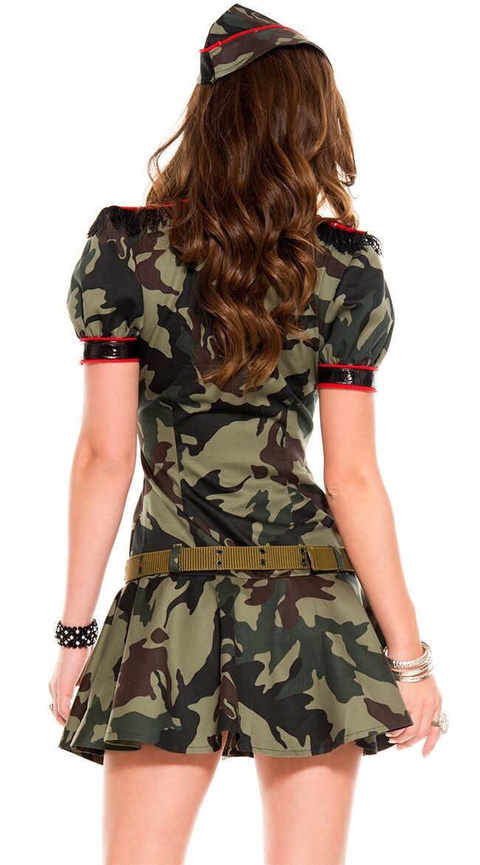 Для женщин сексуальные армии Военная униформа женский офицер армии камуфляжная форма курица вечерние фантазия мини платье