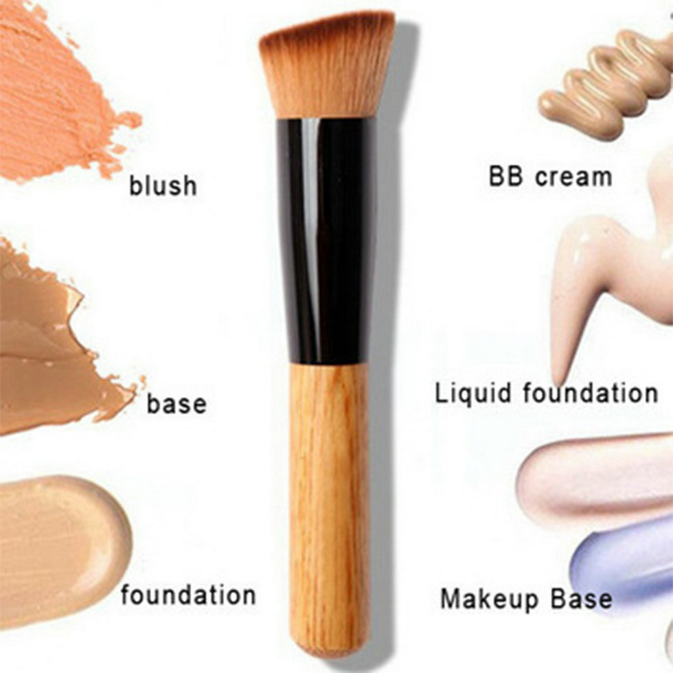 Professional Makeup Brushes Soft Fiber Angled Flat Top Foundation Powder Concealer Blush Brush Cosmetic Tool Accessories top quality foundation brush angled makeup brush