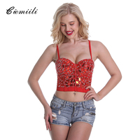 CIEMIILI 2018 Diamonds Beading Women Tops Short Sexy Bright Elegant Sequined Plaid Night Club New Body Women Bralette Crop Top
