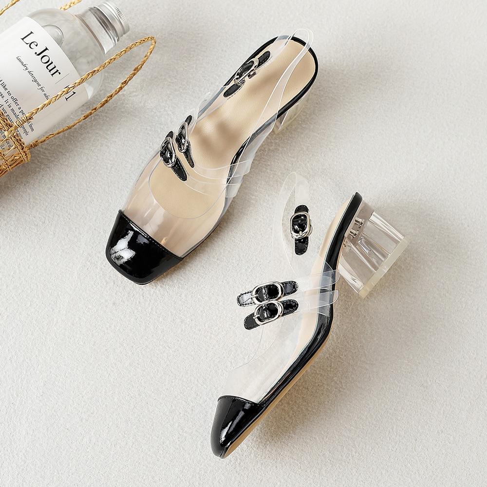 Apricot En Femmes noir Transparent 39 Vache Chaussures Talons Hauts Cuir Pompes Naturel Véritable Mary Janes Meotina Épais Carré Orteil PHTXxp