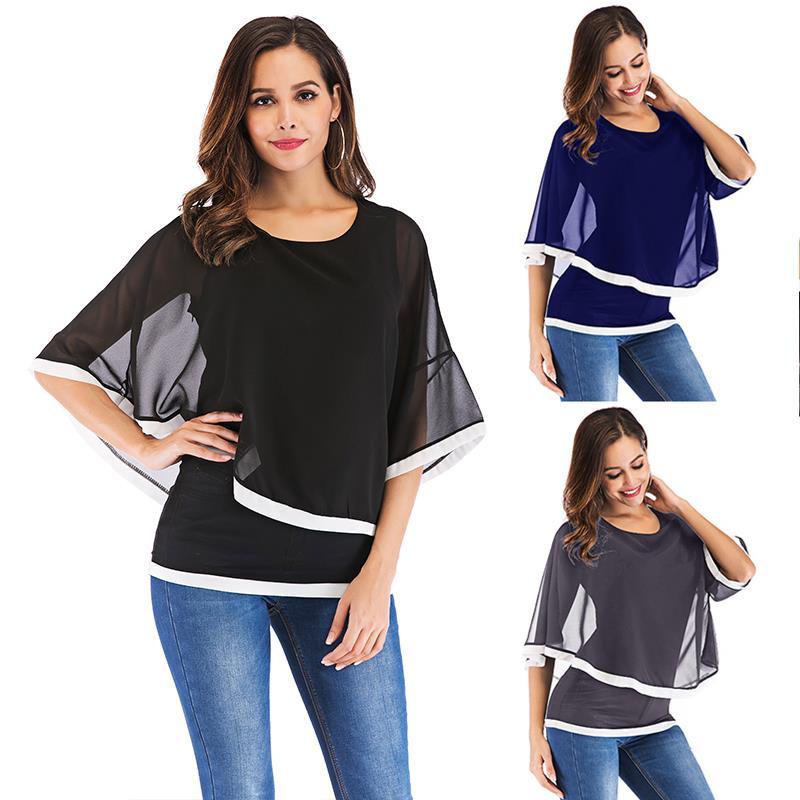 Women Summer Blouses Chiffon Blouse Shirts Casual Sexy Batwing O Neck Tops Shirt Plus Size S-5xl Blusas Mujer De Moda 2019