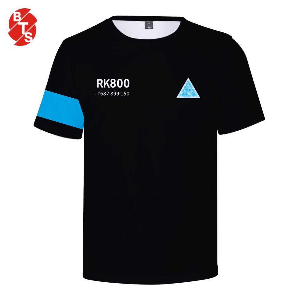 2018 Detroit Become Human Summer Cool   T     shirt   Men/Women Short Sleeve 3D Printed Fashion   T  -  shirt   Detroit Casual Tops and Tee