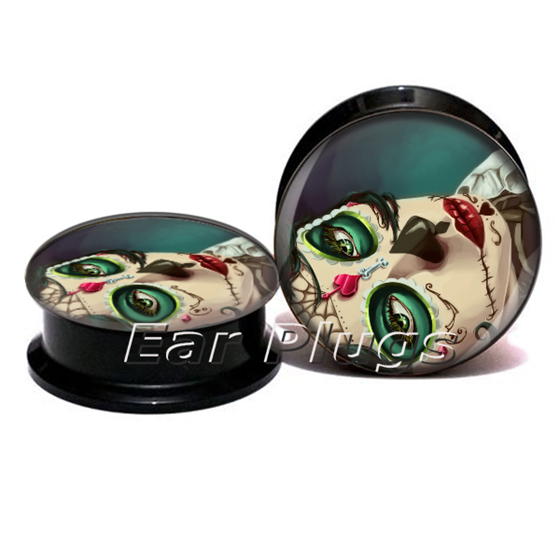 Wholesale day of the dead plug gauges acrylic screw ear plug flesh tunnel piercing body jewelry ASP0769