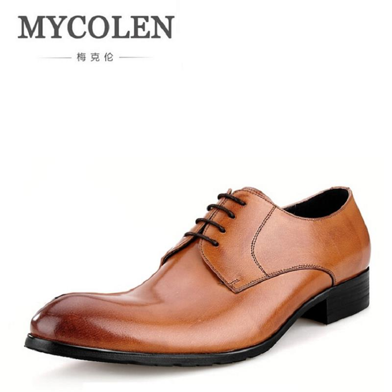 MYCOLEN Fashion Mens Suit Shoes Dress Genuine Leather Business Male Shoes Handmade Black Brown Formal Derby Shoes Schuhe Herren