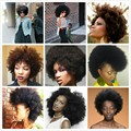 "7a Brazilian Remy Afro Kinky Virgin Hair 3pcs Brazilian Short Natural Black Kinky Curly Afro Curl Human Hair Weave 8""-22"""
