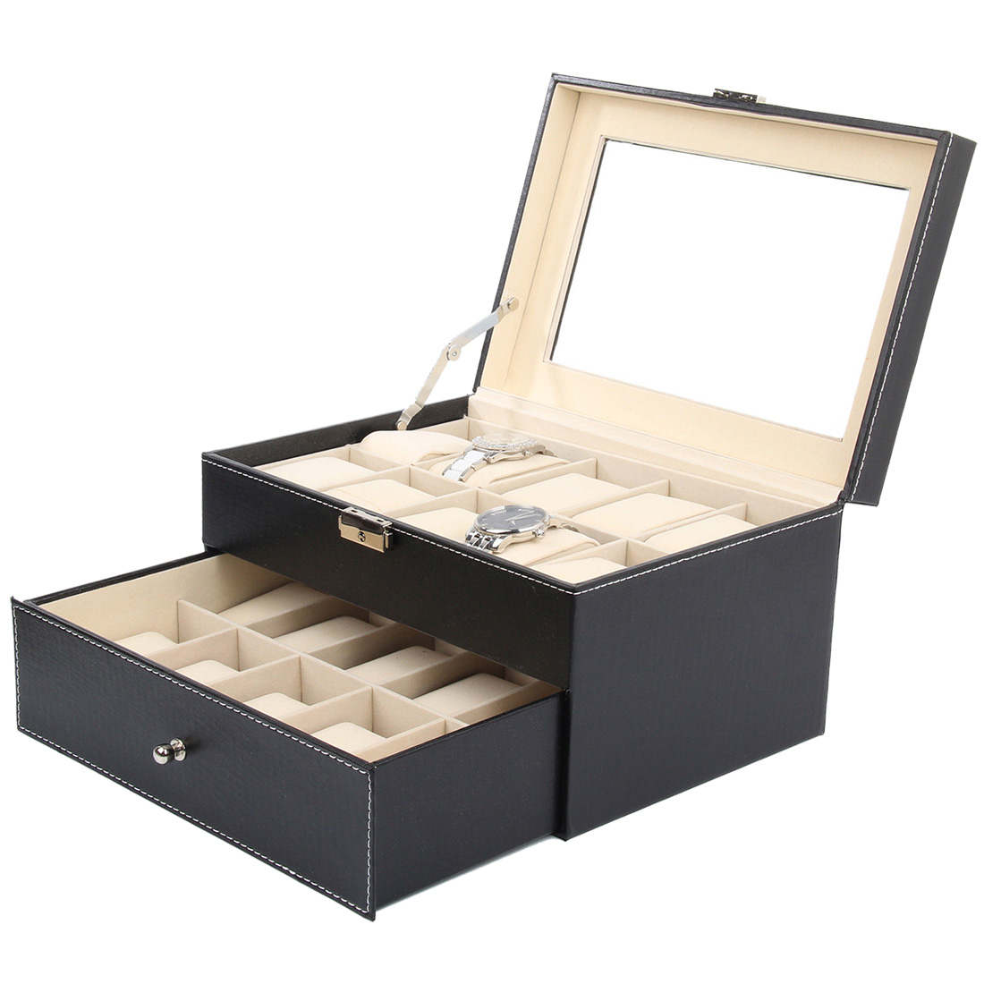 Faux Leather Watch Case Storage Display Box Organiser Jewelry Glass Top Material & Size:20 Grid Leather ...