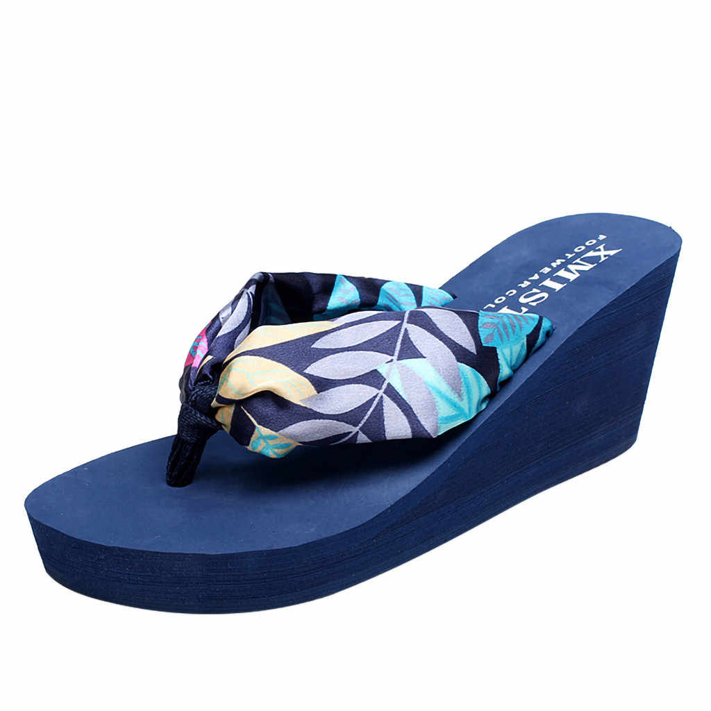 SAGACE Fashion Summer Women Platform Wedge HeeL Solid Beach Flip Flops Slip-up Style Outdoor Comfortable And Breathable Shoes