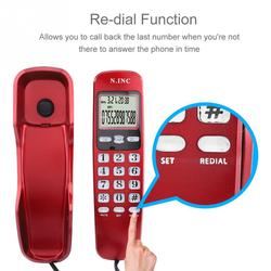 Mini Wall Telephone Incoming Dual Caller ID LCD Display Landline Phone for Home Office Hotel Black White Red