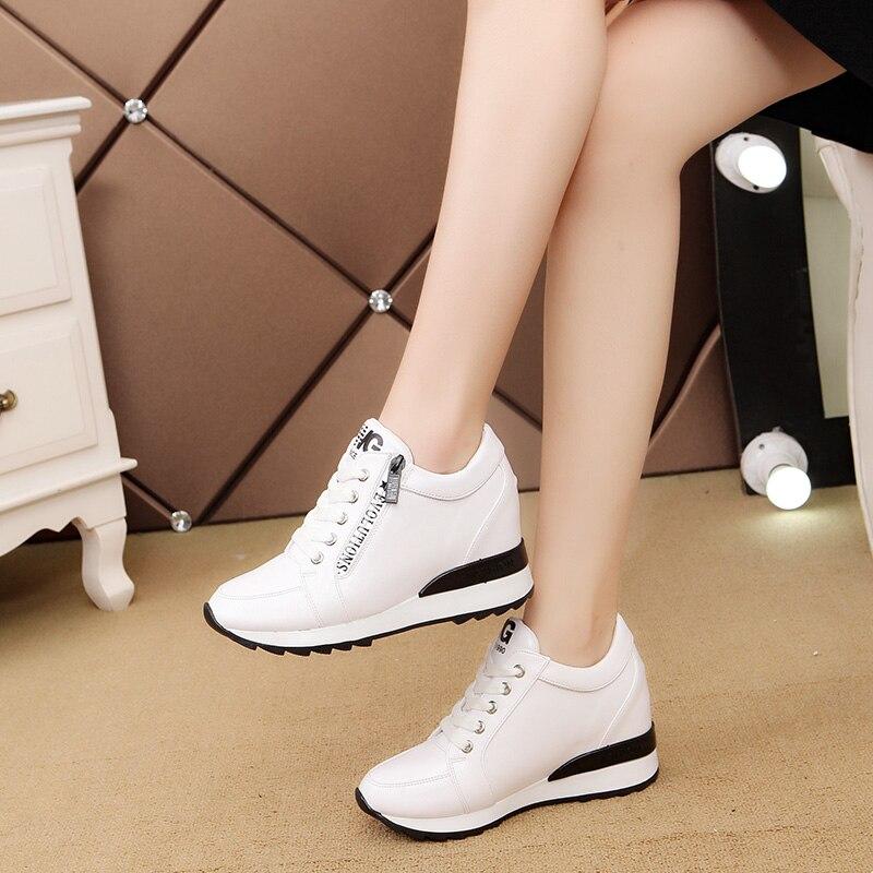 Модная женская повседневная обувь Новое поступление Модные дышащие Водонепроницаемый клинья платформы Кружево-Up Обувь