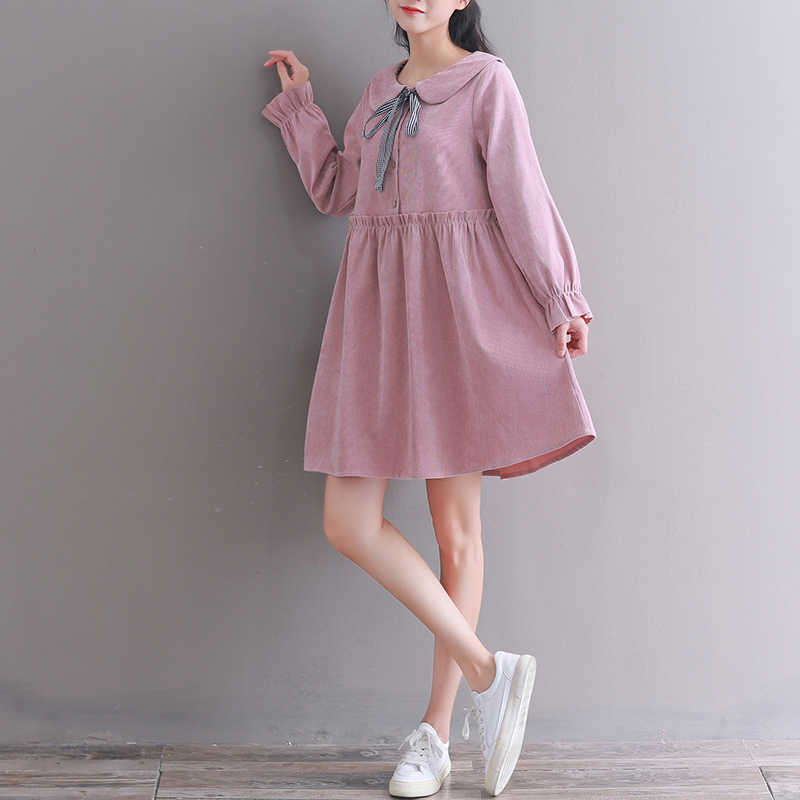 Autumn Winter Plus Size Dresses Women Baby Doll Style High Waist Kawaii  Peter pan Collar Mori Girl Dress Long Sleeve robe mujer