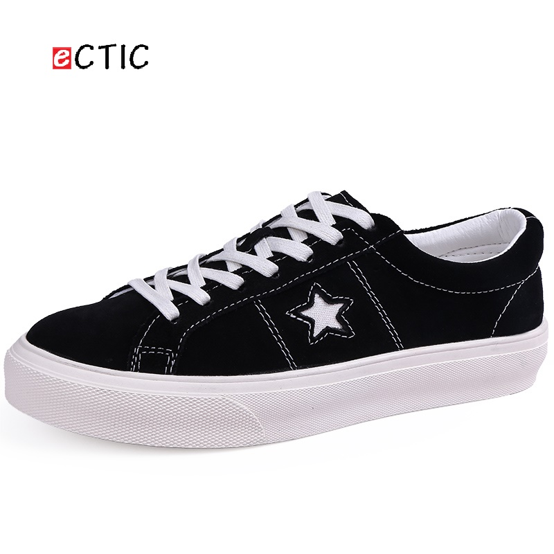 ECTIC New Fashion Hip Hop Shoes Men High Quality Leather Shoes Original Sneakers Stars Pattern Young Breathable