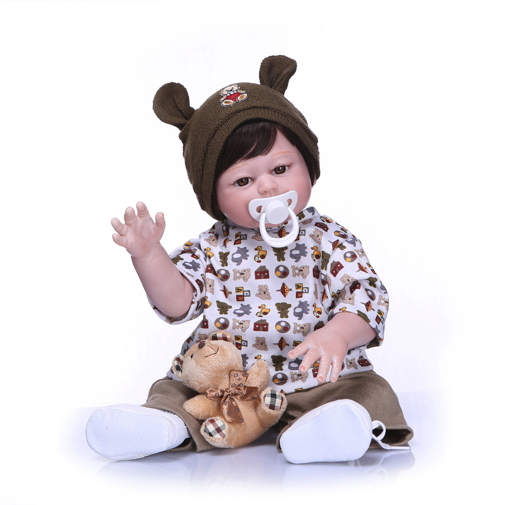 Nicery 20inch 50cm Bebe Reborn Doll Hard Silicone Boy Girl Toy Reborn Baby Doll Gift for Children Brown Hat nicery 18inch 45cm reborn baby doll magnetic mouth soft silicone lifelike girl toy gift for children christmas pink hat close