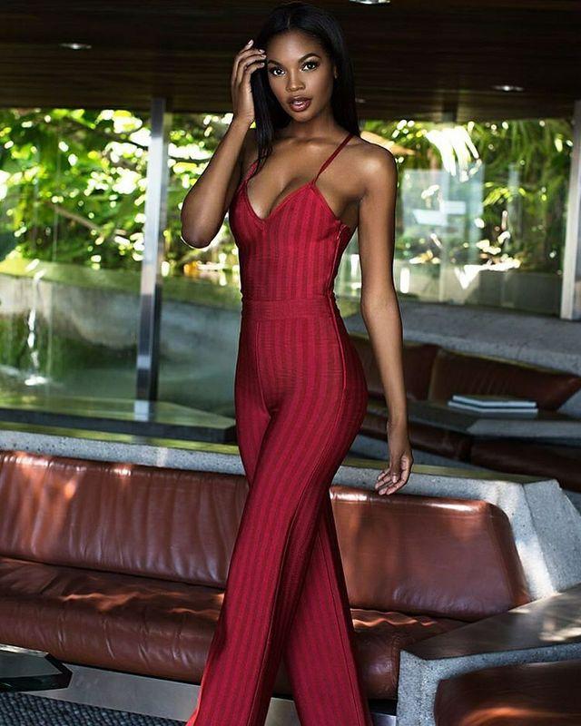 Combinaisons Pleine Bandage Manches Longueur 2016 Femmes Rouge Sexy Sans Nouvelle Haute De V En Col Élastique Fête Couture xf7Tpwq
