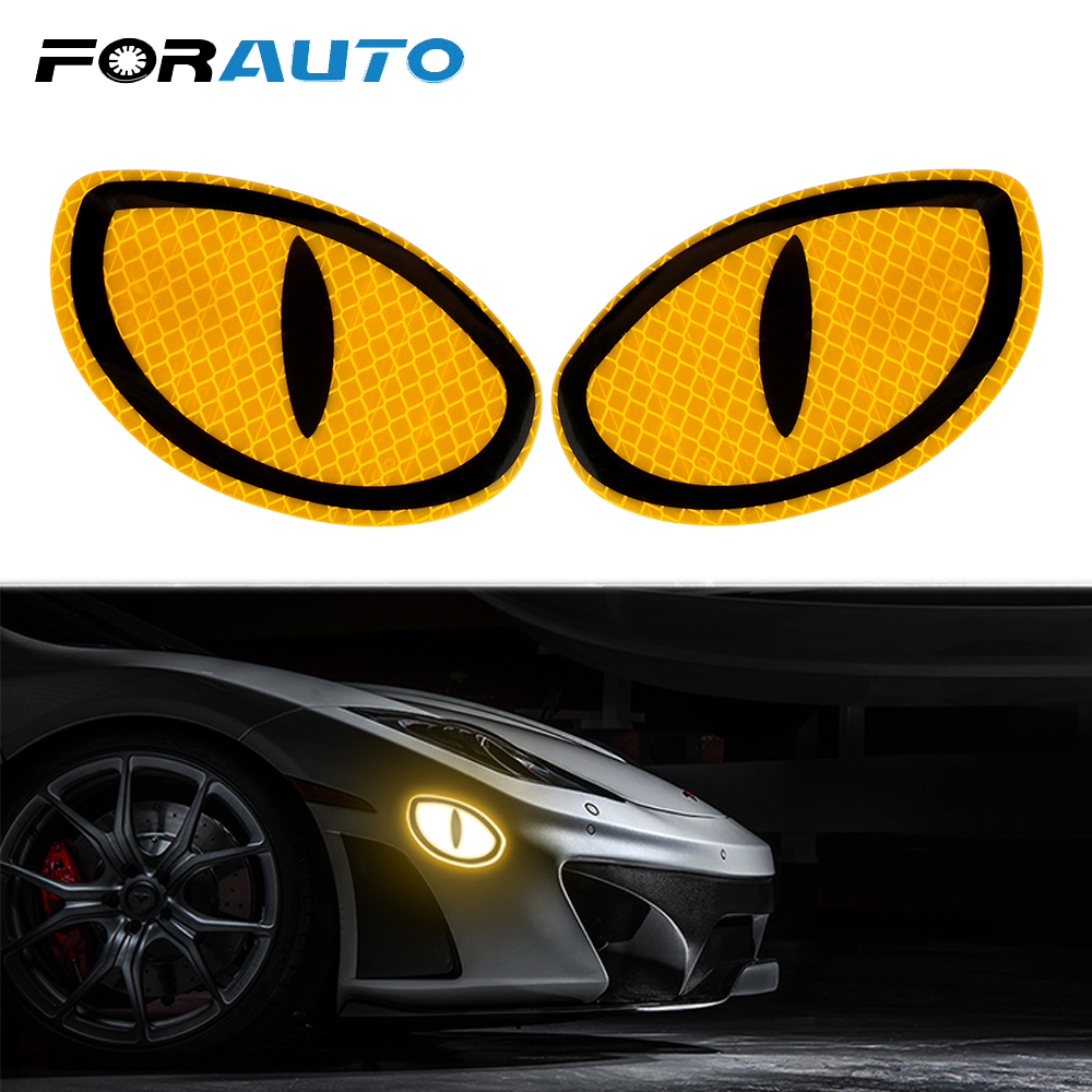 FORAUTO 2 Pieces Car Reflective Sticker Warning Tape Eye Shape Reflective Strips Safety Mark Protective Door Bump Sticker