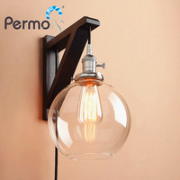 Vintage Handmade Wooden Hook Wall Sconce Light Modern Globe Glass Wall Lamp With Wood Stand Lights Fixture Home Decorations