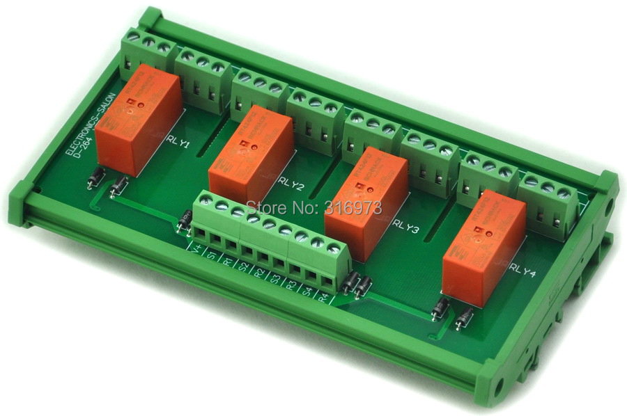 DIN Rail Mount Passive Bistable/Latching 4 DPDT 8A Power Relay Module, 12V Version