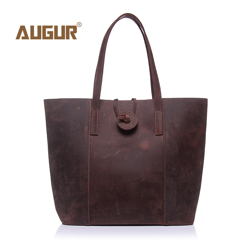 AUGUR European And American Style Crazy Horse Leather Women Shoulder Bags Casual Totes Female Fashion Leather Handbags 206#