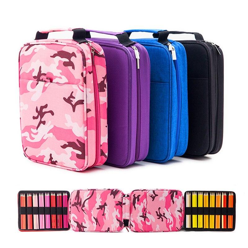 Creative 150 Solt Large Capacity Colored Pencil Case Cartoon Animal Floral Print Multifunctional Pencil Bag Pen Box Art Supplies penguin print pencil case