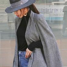 Винтажный клетчатый женский блейзер без пряжки, весеннее платье с карманами, платье с длинным рукавом типа «летучая мышь», куртки, Женский блейзер для ночного клуба, черный, серый