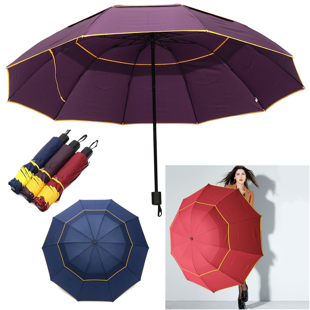 Waterproof Anti-UV <font><b>Umbrella</b></font> Rain Sunshade2-3 People Outdoor 3 Folding <font><b>Umbrella</b></font> 130cm <font><b>Big</b></font> Windproof <font><b>Umbrellas</b></font> Rain Men Women image