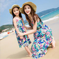 Семья посмотрите сарафан мать дочь наряды синий рукавов boho платье для детей девушки цветка платья женские летние цветочные платья