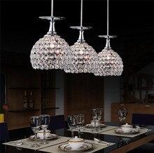 Современное искусство кристалл ресторан лампа блеск стеклянный кубок вина столовая подвесные светильники 1/3/4 pendientes
