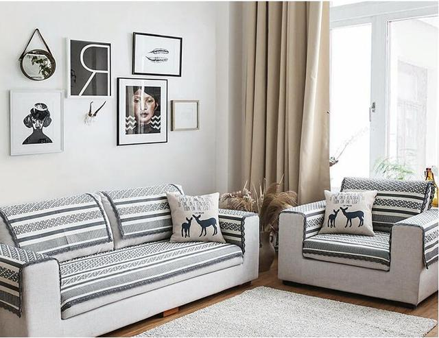 Europe Cotton Sofa Towel Slipcover Sectinal Sofa Cover Anti Slip Single Seat  2 Seat