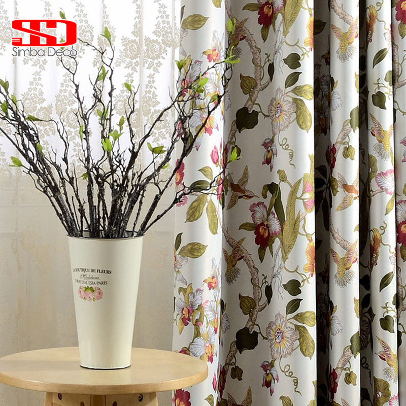 American Floral Printed Blackout Curtains for Living Room Pastoral Style Drapes for Bedroom Window Treatments Panel Insulation