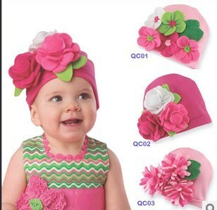 NEW DESIGN Fall Baby Hat, Modeling of flower children's fashion cap 3 designs can be choose,free shipping