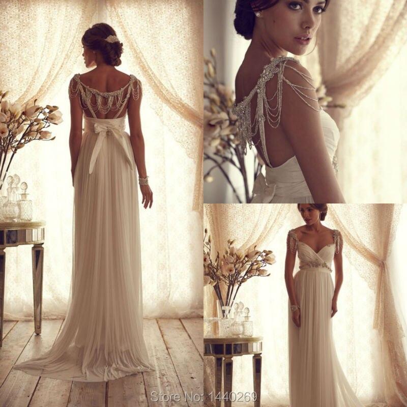 Sexy une ligne robe de mariée perles cristal mousseline de soie ceinture courbée plis mariée robe formelle sur mesure