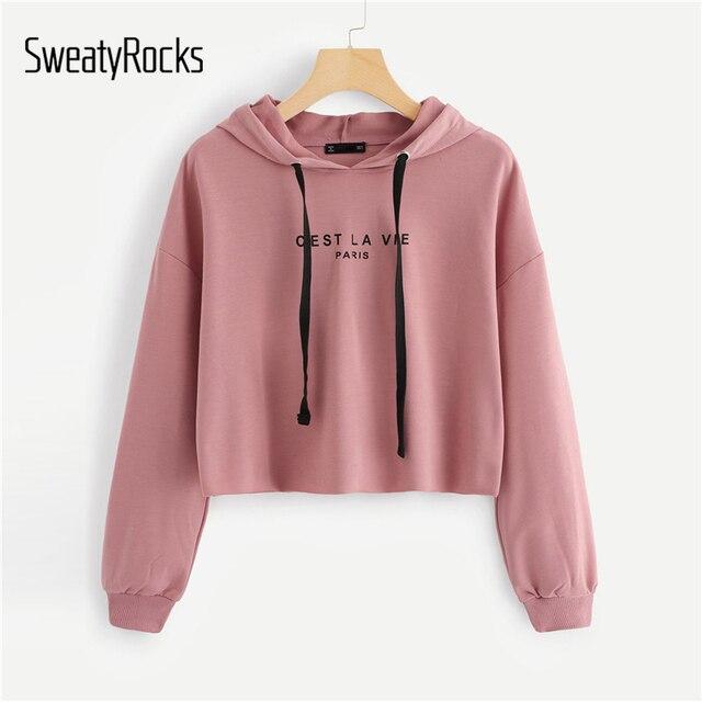 476a32bf1 SweatyRocks Pink Women Hoodies Sweatshirt Drop Shoulder Long Sleeve ...