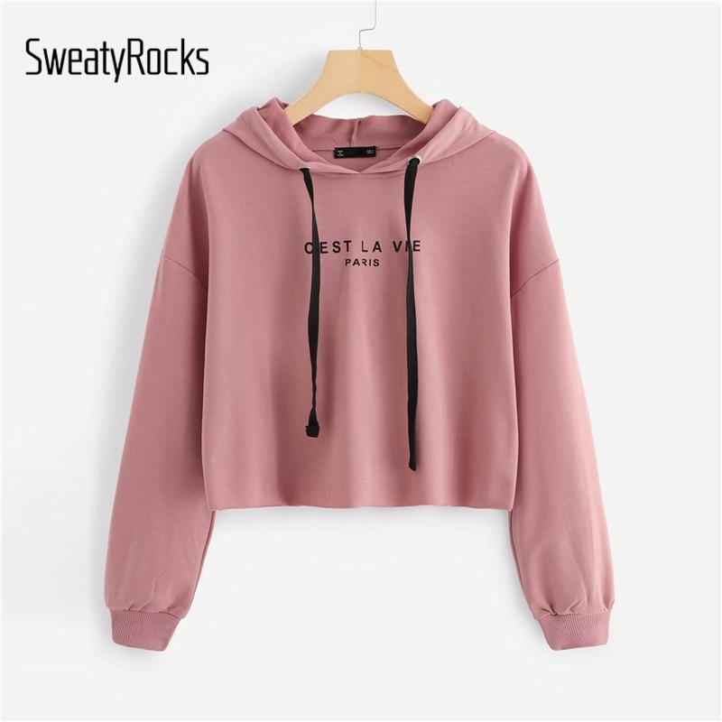 SweatyRocks Pink Women Hoodies Sweatshirt