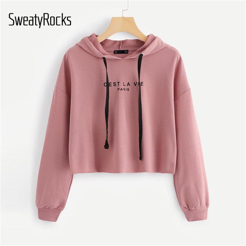 GemäßIgt Sweatyrocks Rosa Frauen Hoodies Sweatshirt Tropfen Schulter Langarm Pullover Herbst Kleidung 2018 Brief Drucken Casual Sweatshirts Pullover Sweatshirts