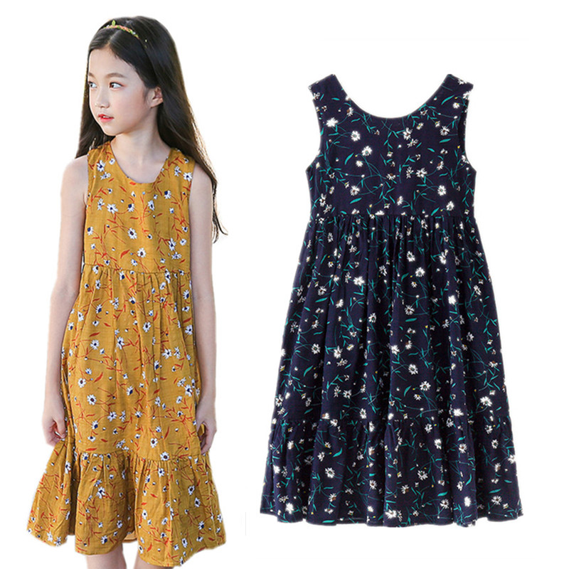 6 to 16 years kids & teenager girls summer floral print sleeveless casual flare vest dresses children fashion dress clothes