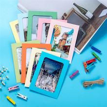 7 inch Wall Deco DIY Creative Mini Paper Photo Frame Mini Colored Clothespins Twine Decorative Home 9 frames(China)