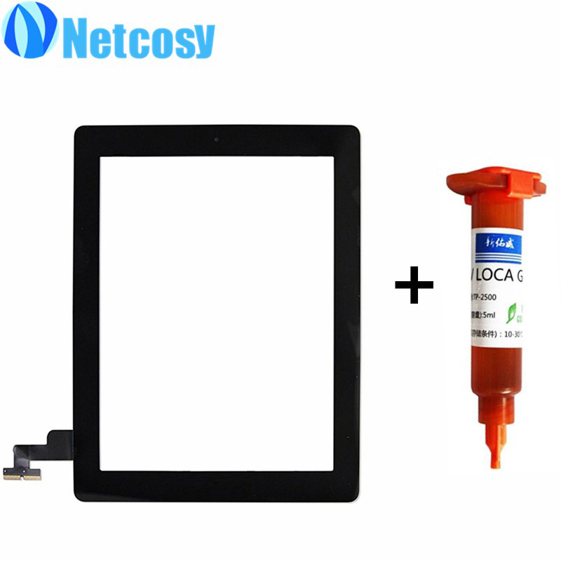 Netcosy For ipad 2 A1395 A1396 A1397 Touch Glass Screen Digitizer Home Button Assembly repair For ipad 2 touchscreen+5ml UV glue 5pcs set white black new grade aaa 7 9 inch for ipad 2 a1395 a1396 a1397 digitizer touch screen glass panel sensor replacement