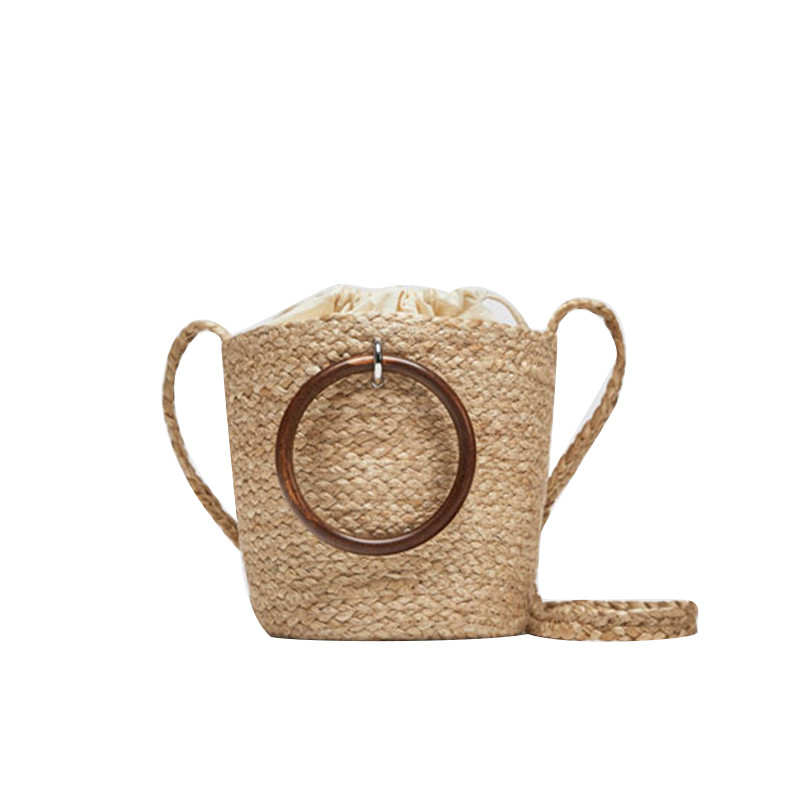 Za Straw Bag Wood Ring Woven Bag Portable Bucket Bag Female Vacation Package Crossbody BagZa Straw Bag Wood Ring Woven Bag Portable Bucket Bag Female Vacation Package Crossbody Bag