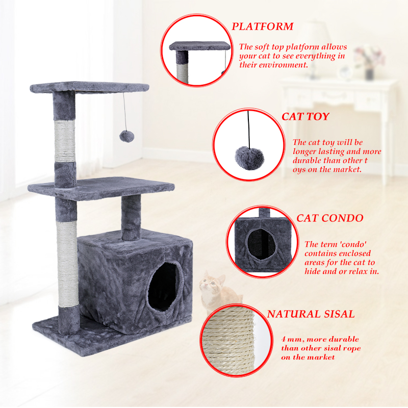 RU Domestic Delivery Cat Tree Height 85CM House for Cat Kitten Scratching Post Cat Toys With Sisal Pet Tower Bed With Cat Condo