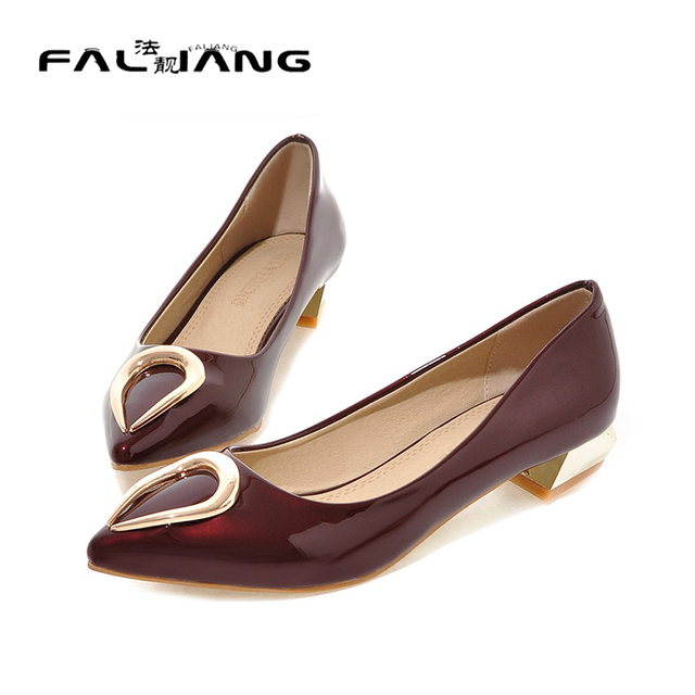 a988575f0ff4 New fashion chunk heel pumps women shoes pointed toe low heel wedding shoes  patent leather grey shoes medium heel ladies shoes