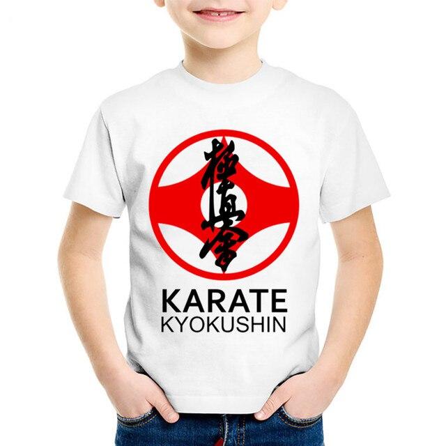 Children Fashion Print Kyokushin Karate Kanji And Symbol T Shirts