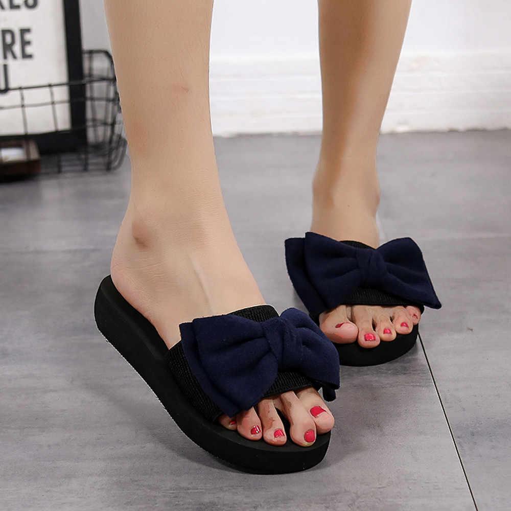 89656ef0e 2018 Women Summer Beach Shoes Breathable Elegant Slippers Shoes Women  Outdoor Flip-flops Bow Shoes