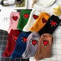 Corea Nueva Marea de Perlas Hechas A Mano Rojo Del Corazón Calcetines de Las Mujeres