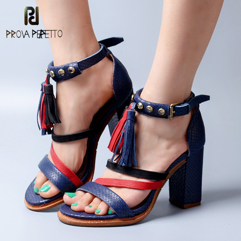 Prova Perfetto Summer Mixed Color Narrow Band Ankle Buckle Strap High Heel Woman Sandals Peep Toe Fringe Chunky Heel Shoes prova perfetto full leather narrow band knitting women sandals hollow out peep toe chunky high heel rome style summer shoes
