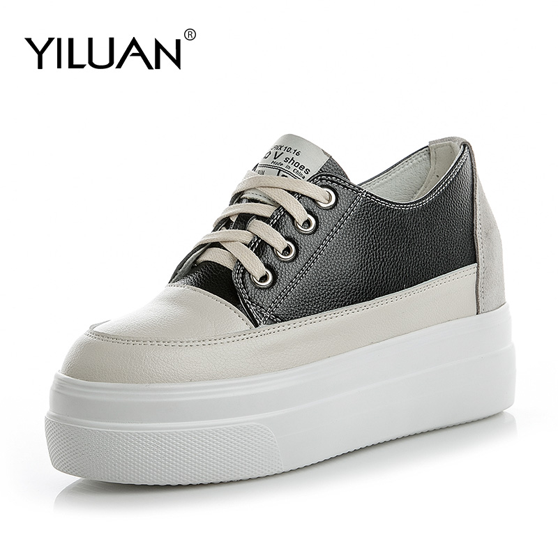 Yiluan new Leather Sneakers women wild white Shoes 2020 Autumn Winter White ladies Casual Shoes flat