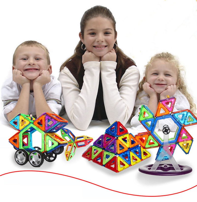 ФОТО 66Pcs 85Pcs Magnetic  Educational Kids Toys Similar Magformers Brand Diy Building Bricks 3D Magnetic Blocks Toy