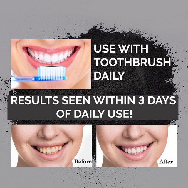 1 oz Activated Coconut Charcoal Powder Teeth Whitening Powder Bamboo Teeth Whitening Kit with Toothbrush for Oral Hygiene 2