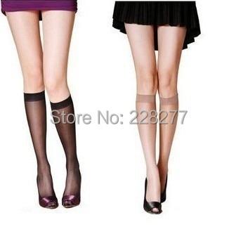 Free Shipping 20pcs=10 Pairs/lot  Womens Fashion Knee Highs Socks,comfortable Cool Nylon Stocking